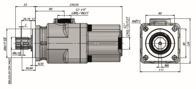 Pompa tłoczkowa prosta, dwukierunkowa, ISO, wieloklinowy 350-300 bar, 20-60L wymiary