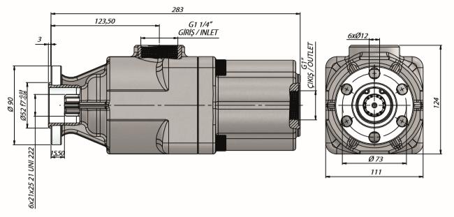 Pompa tłoczkowa prosta, dwukierunkowa, UNI, wieloklinowy, 350bar, 20-60L wymiary