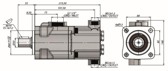 Pompa tłoczkowa prosta, dwustrumieniowa, ISO, klin, 250 bar, 20+20, 26+14, 34+18, 26+26 wymiary