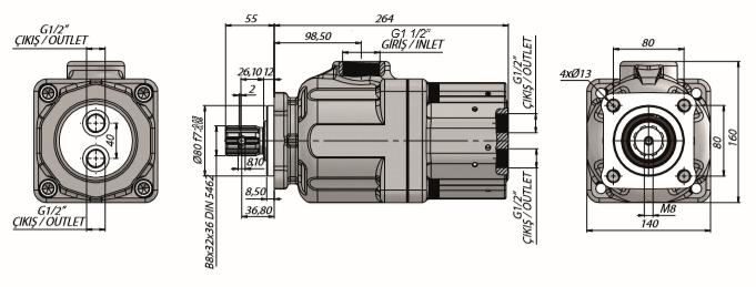 Pompa tłoczkowa prosta, dwustrumieniowa, ISO, wieloklinowy 300bar, 35+35, 54+27, 45+45, 50+50, 70+33 wymiary