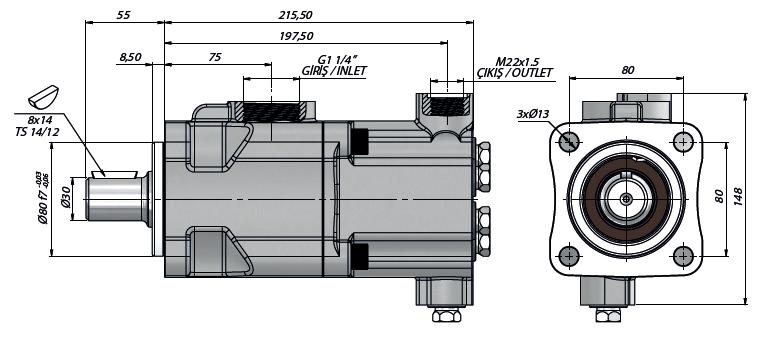 Pompa tłoczkowa prosta,dwukierunkowa, ISO, klin 250bar, 26-52L wymiary