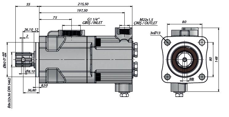 Pompa tłoczkowa prosta,dwukierunkowa, ISO, wieloklinowy 250bar, 26-52L wymiary